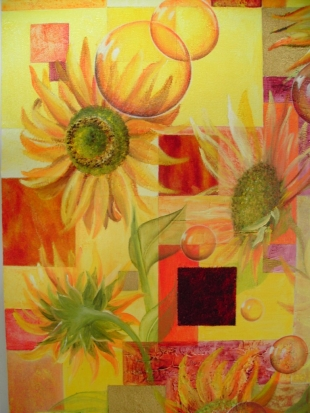 « tournesols » acrylique mixte square art
